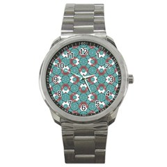 Colorful Geometric Graphic Floral Pattern Sport Metal Watch by dflcprints