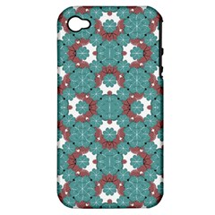 Colorful Geometric Graphic Floral Pattern Apple Iphone 4/4s Hardshell Case (pc+silicone) by dflcprints