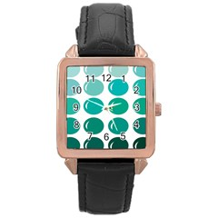 Bubbel Balloon Shades Teal Rose Gold Leather Watch  by Mariart