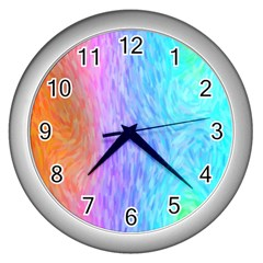 Aurora Rainbow Orange Pink Purple Blue Green Colorfull Wall Clocks (silver)  by Mariart
