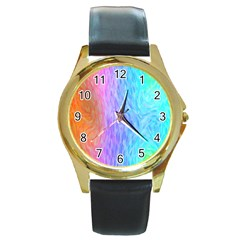 Aurora Rainbow Orange Pink Purple Blue Green Colorfull Round Gold Metal Watch by Mariart