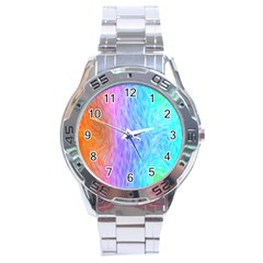 Aurora Rainbow Orange Pink Purple Blue Green Colorfull Stainless Steel Analogue Watch by Mariart