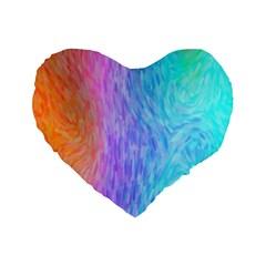 Aurora Rainbow Orange Pink Purple Blue Green Colorfull Standard 16  Premium Flano Heart Shape Cushions by Mariart