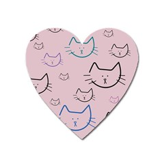 Cat Pattern Face Smile Cute Animals Beauty Heart Magnet by Mariart