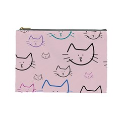 Cat Pattern Face Smile Cute Animals Beauty Cosmetic Bag (large)  by Mariart