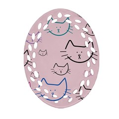 Cat Pattern Face Smile Cute Animals Beauty Oval Filigree Ornament (two Sides) by Mariart