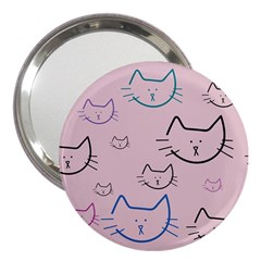 Cat Pattern Face Smile Cute Animals Beauty 3  Handbag Mirrors by Mariart