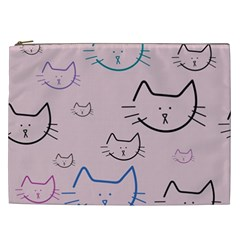 Cat Pattern Face Smile Cute Animals Beauty Cosmetic Bag (xxl)  by Mariart