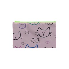 Cat Pattern Face Smile Cute Animals Beauty Cosmetic Bag (xs) by Mariart