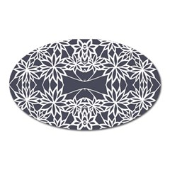 Blue White Lace Flower Floral Star Oval Magnet by Mariart