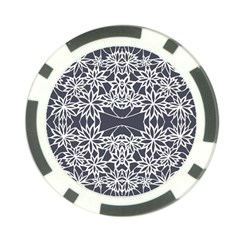 Blue White Lace Flower Floral Star Poker Chip Card Guard (10 Pack) by Mariart