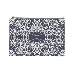 Blue White Lace Flower Floral Star Cosmetic Bag (large)  by Mariart