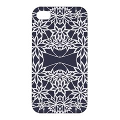 Blue White Lace Flower Floral Star Apple Iphone 4/4s Premium Hardshell Case by Mariart