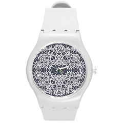 Blue White Lace Flower Floral Star Round Plastic Sport Watch (m) by Mariart