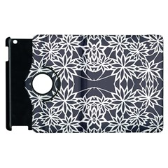 Blue White Lace Flower Floral Star Apple Ipad 3/4 Flip 360 Case by Mariart