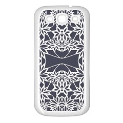 Blue White Lace Flower Floral Star Samsung Galaxy S3 Back Case (white) by Mariart