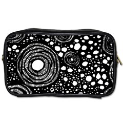 Circle Polka Dots Black White Toiletries Bags 2 Side by Mariart