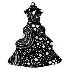 Circle Polka Dots Black White Ornament (christmas Tree)  by Mariart