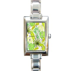 Amazon Forest Natural Green Yellow Leaf Rectangle Italian Charm Watch by Mariart