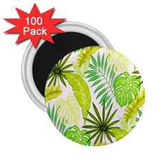 Amazon Forest Natural Green Yellow Leaf 2 25  Magnets (100 Pack)  by Mariart