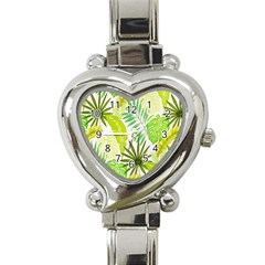 Amazon Forest Natural Green Yellow Leaf Heart Italian Charm Watch by Mariart