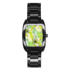 Amazon Forest Natural Green Yellow Leaf Stainless Steel Barrel Watch by Mariart