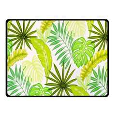 Amazon Forest Natural Green Yellow Leaf Double Sided Fleece Blanket (small)  by Mariart