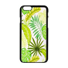 Amazon Forest Natural Green Yellow Leaf Apple Iphone 6/6s Black Enamel Case by Mariart