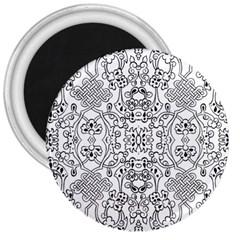 Black Psychedelic Pattern 3  Magnets by Mariart