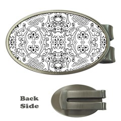 Black Psychedelic Pattern Money Clips (oval)  by Mariart