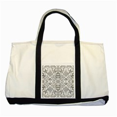 Black Psychedelic Pattern Two Tone Tote Bag by Mariart