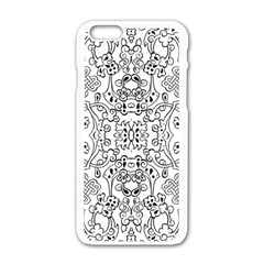 Black Psychedelic Pattern Apple Iphone 6/6s White Enamel Case by Mariart