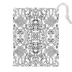 Black Psychedelic Pattern Drawstring Pouches (xxl) by Mariart