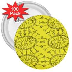 Yellow Flower Floral Circle Sexy 3  Buttons (100 Pack)  by Mariart