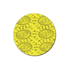 Yellow Flower Floral Circle Sexy Rubber Coaster (round)  by Mariart