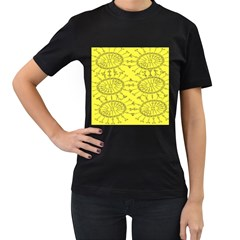 Yellow Flower Floral Circle Sexy Women s T Shirt (black) (two Sided)
