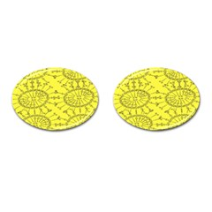 Yellow Flower Floral Circle Sexy Cufflinks (oval) by Mariart