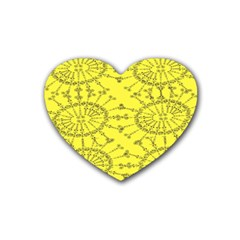 Yellow Flower Floral Circle Sexy Rubber Coaster (heart)  by Mariart