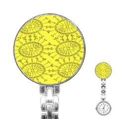 Yellow Flower Floral Circle Sexy Stainless Steel Nurses Watch by Mariart