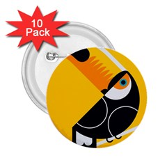 Cute Toucan Bird Cartoon Yellow Black 2 25  Buttons (10 Pack)  by Mariart