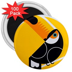 Cute Toucan Bird Cartoon Yellow Black 3  Magnets (100 Pack) by Mariart