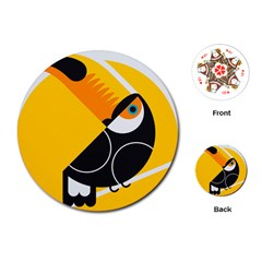Cute Toucan Bird Cartoon Yellow Black Playing Cards (round)  by Mariart