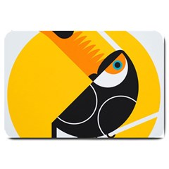 Cute Toucan Bird Cartoon Yellow Black Large Doormat  by Mariart