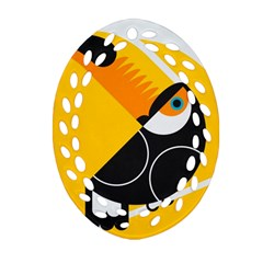 Cute Toucan Bird Cartoon Yellow Black Oval Filigree Ornament (two Sides) by Mariart