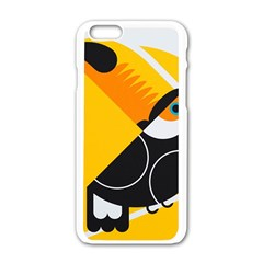 Cute Toucan Bird Cartoon Yellow Black Apple Iphone 6/6s White Enamel Case by Mariart