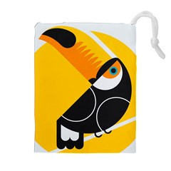 Cute Toucan Bird Cartoon Yellow Black Drawstring Pouches (extra Large) by Mariart