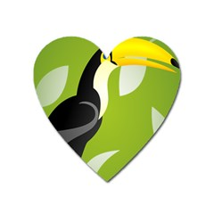 Cute Toucan Bird Cartoon Fly Yellow Green Black Animals Heart Magnet by Mariart