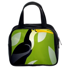 Cute Toucan Bird Cartoon Fly Yellow Green Black Animals Classic Handbags (2 Sides) by Mariart