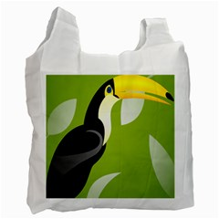 Cute Toucan Bird Cartoon Fly Yellow Green Black Animals Recycle Bag (one Side) by Mariart