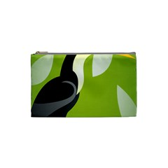 Cute Toucan Bird Cartoon Fly Yellow Green Black Animals Cosmetic Bag (small)  by Mariart